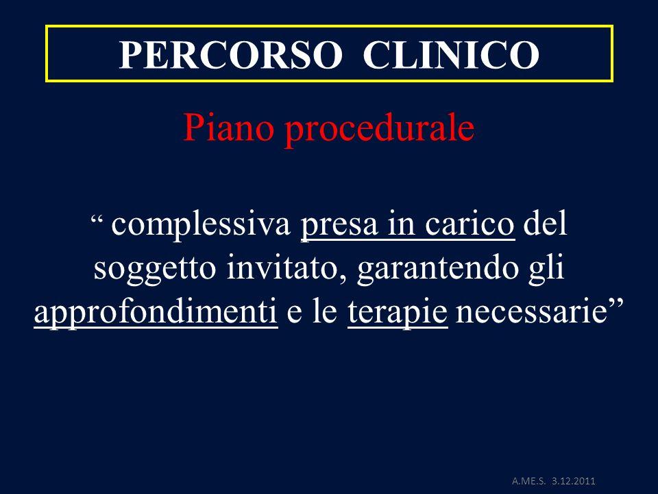 A.ME.S. 3.12.2011 PERCORSO CLINICO Piano procedurale complessiva presa in carico del soggetto invitato, garantendo gli approfondimenti e le terapie ne