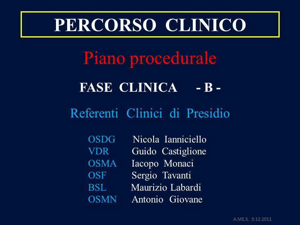 A.ME.S. 3.12.2011 PERCORSO CLINICO Piano procedurale FASE CLINICA - B - Referenti Clinici di Presidio OSDG Nicola Ianniciello VDR Guido Castiglione OS