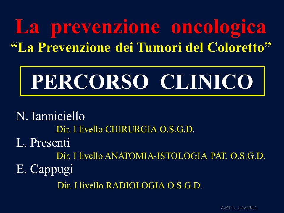 La prevenzione oncologica La Prevenzione dei Tumori del Coloretto A.ME.S. 3.12.2011 PERCORSO CLINICO N. Ianniciello Dir. I livello CHIRURGIA O.S.G.D.