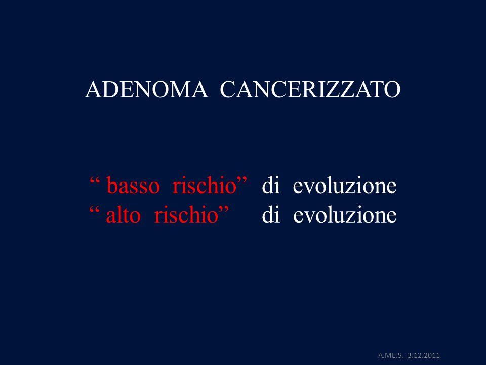A.ME.S. 3.12.2011 ADENOMA CANCERIZZATO basso rischio di evoluzione alto rischio di evoluzione