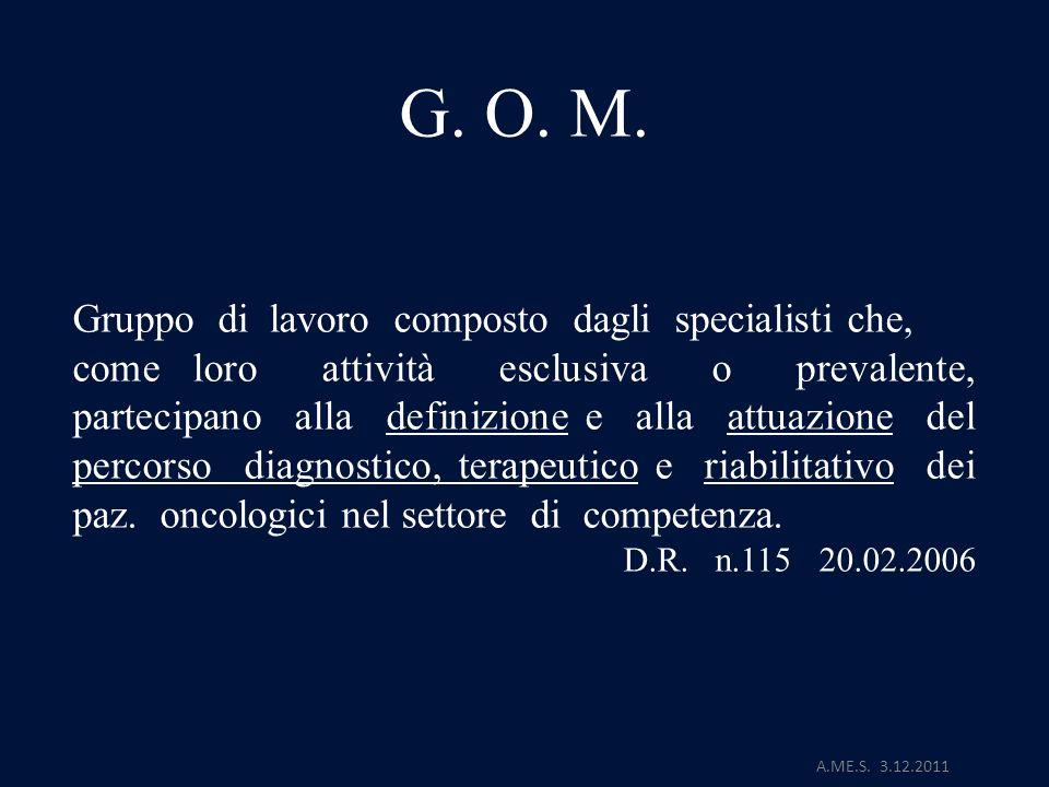 A.ME.S. 3.12.2011 G. O. M. Gruppo di lavoro composto dagli specialisti che, come loro attività esclusiva o prevalente, partecipano alla definizione e