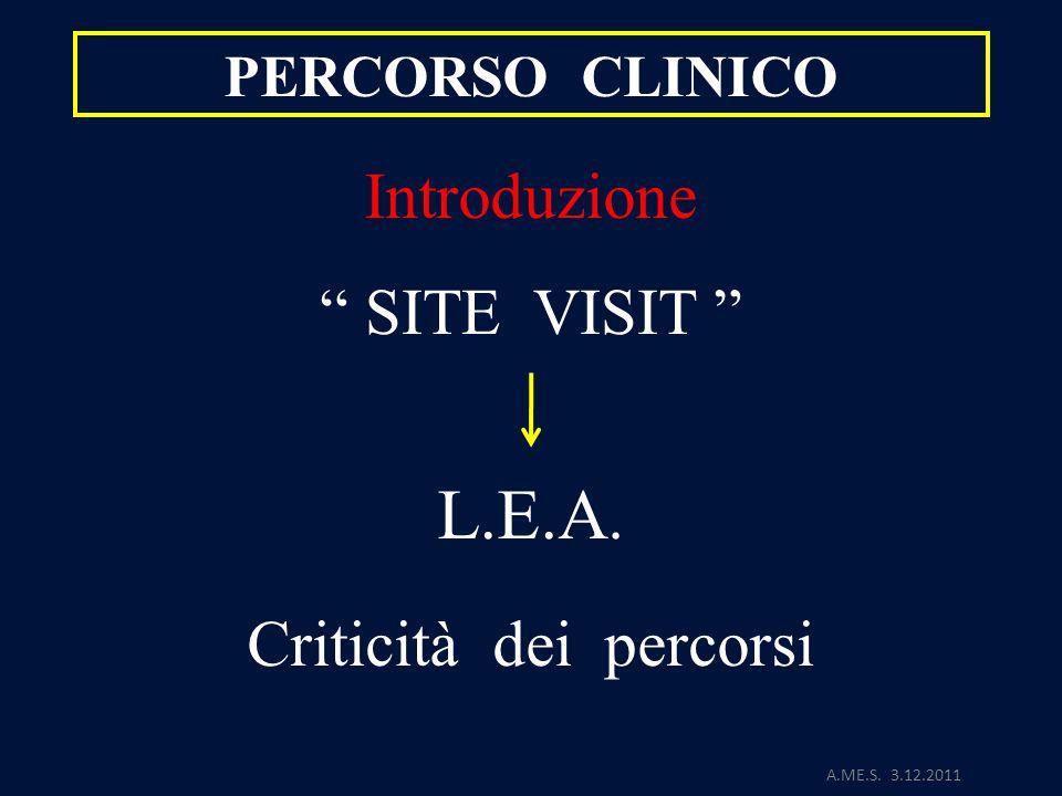 A.ME.S. 3.12.2011 PERCORSO CLINICO Introduzione SITE VISIT L.E.A. Criticità dei percorsi