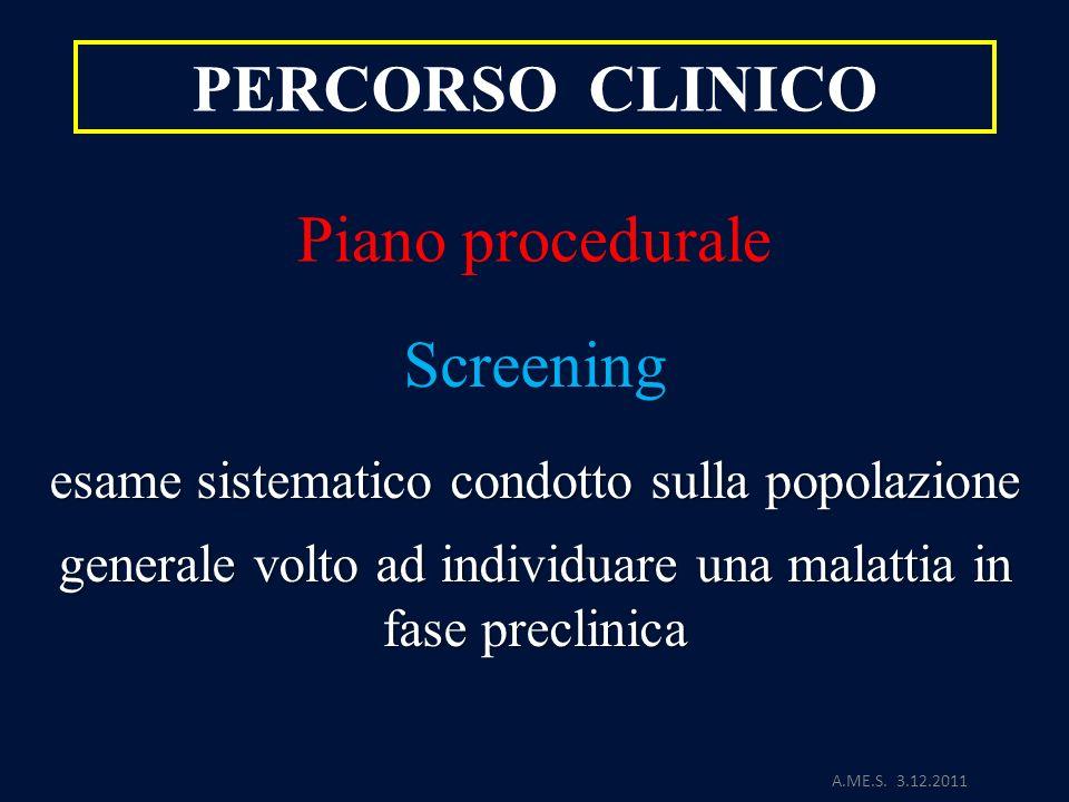 A.ME.S. 3.12.2011 PERCORSO CLINICO Piano procedurale Screening esame sistematico condotto sulla popolazione generale volto ad individuare una malattia