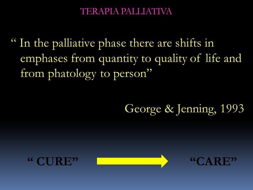 LE TERAPIE ATTIVE E LE CURE PALLIATIVE NON SONO REALTÀ MUTUAMENTE ESCLUDENTISI MA VANNO DI PARI PASSO CON LE CONDIZIONI CLINICHE E LE NECESSITÀ DEL PAZIENTE TERAPIA PALLIATIVA PALLIATIVE CARE CURATIVE THERAPY DiagnosisDeath