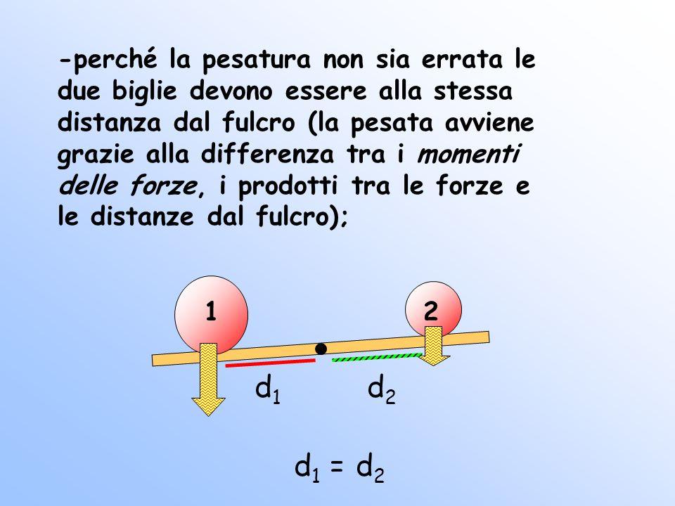 12 -perché la pesatura non sia errata le due biglie devono essere alla stessa distanza dal fulcro (la pesata avviene grazie alla differenza tra i momenti delle forze, i prodotti tra le forze e le distanze dal fulcro); d1d1 d2d2 d1d1 d2d2 =
