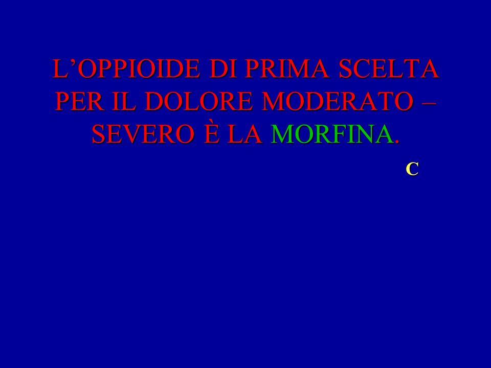 LOPPIOIDE DI PRIMA SCELTA PER IL DOLORE MODERATO – SEVERO È LA MORFINA. C