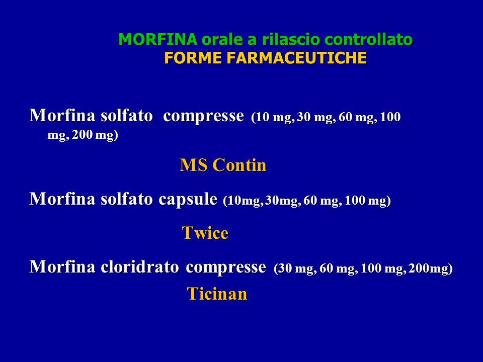 MORFINA orale a rilascio controllato FORME FARMACEUTICHE Morfina solfato compresse (10 mg, 30 mg, 60 mg, 100 mg, 200 mg) MS Contin MS Contin Morfina solfato capsule (10mg, 30mg, 60 mg, 100 mg) Twice Twice Morfina cloridrato compresse (30 mg, 60 mg, 100 mg, 200mg) Ticinan Ticinan