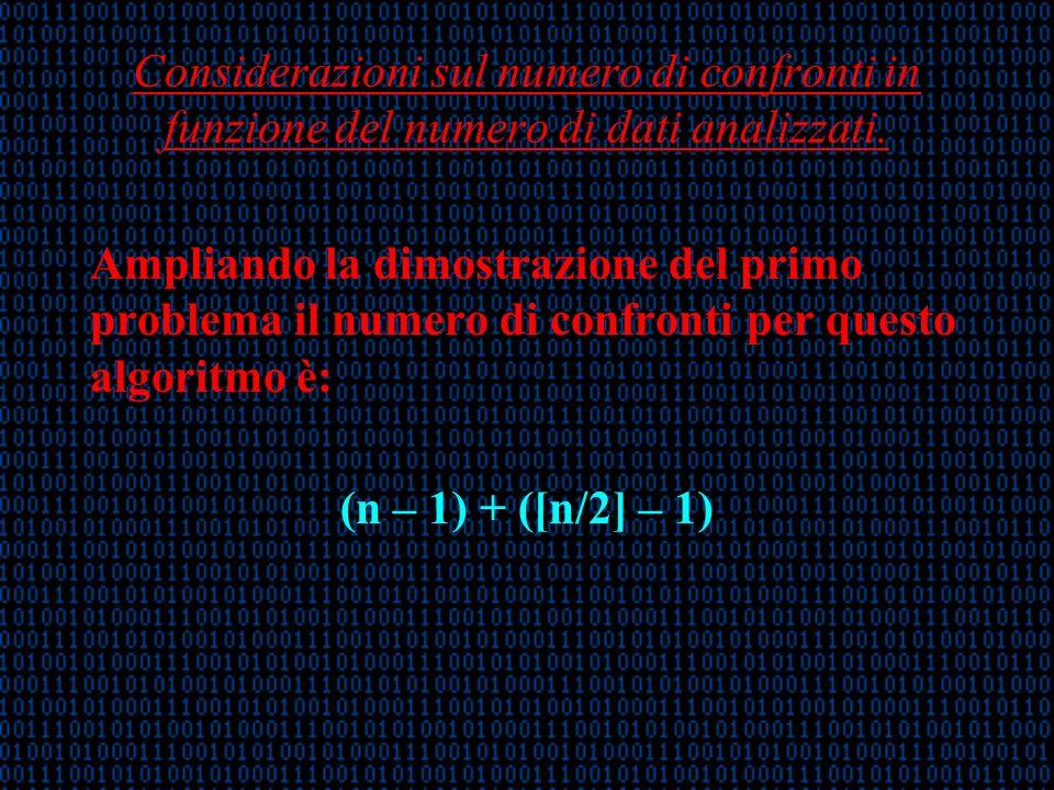 Considerazioni sul numero di confronti in funzione del numero di dati analizzati.