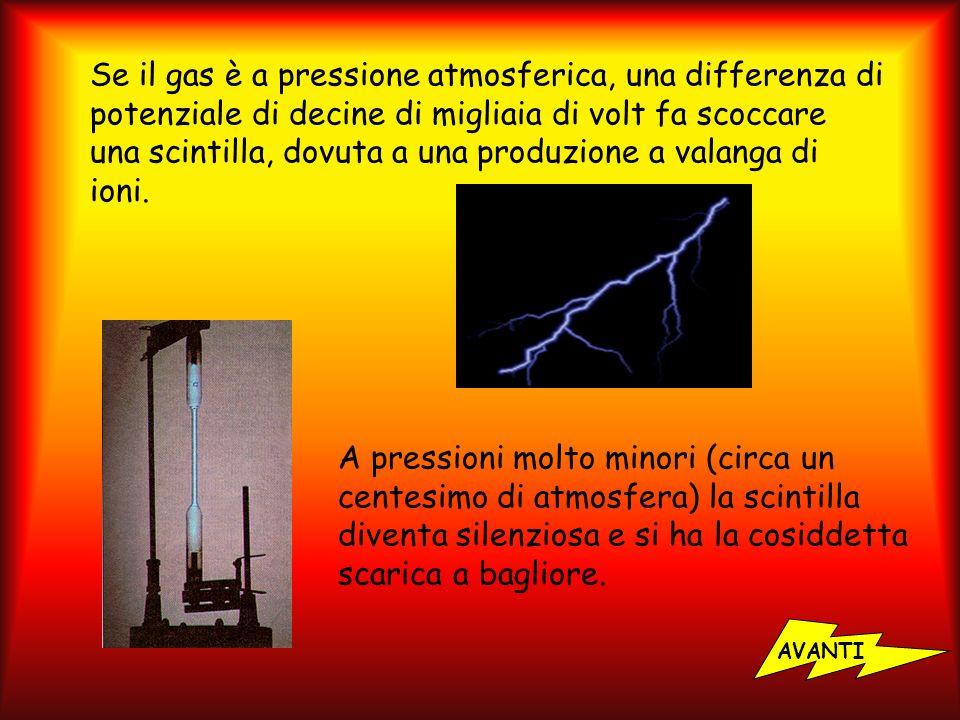 Se il gas è a pressione atmosferica, una differenza di potenziale di decine di migliaia di volt fa scoccare una scintilla, dovuta a una produzione a valanga di ioni.