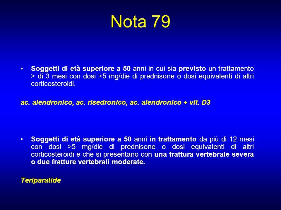 Nota 79 Soggetti di età superiore a 50 anni in cui sia previsto un trattamento > di 3 mesi con dosi >5 mg/die di prednisone o dosi equivalenti di altr