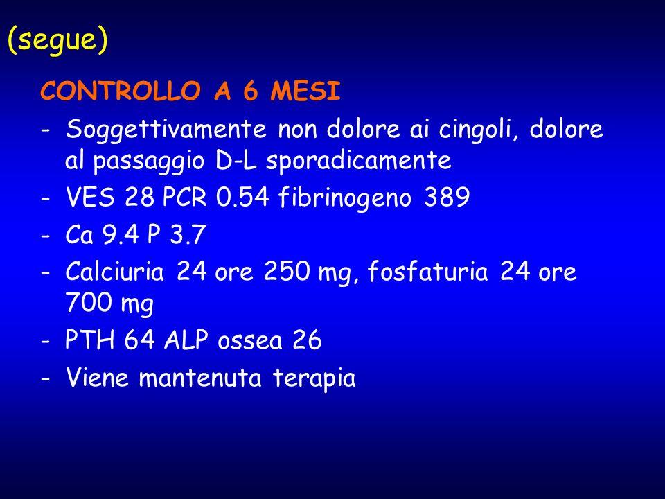 (segue) CONTROLLO A 6 MESI -Soggettivamente non dolore ai cingoli, dolore al passaggio D-L sporadicamente -VES 28 PCR 0.54 fibrinogeno 389 -Ca 9.4 P 3