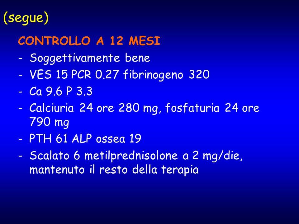 (segue) CONTROLLO A 12 MESI -Soggettivamente bene -VES 15 PCR 0.27 fibrinogeno 320 -Ca 9.6 P 3.3 -Calciuria 24 ore 280 mg, fosfaturia 24 ore 790 mg -P
