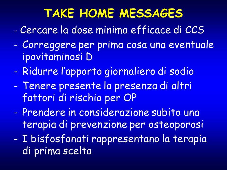 TAKE HOME MESSAGES - Cercare la dose minima efficace di CCS -Correggere per prima cosa una eventuale ipovitaminosi D -Ridurre lapporto giornaliero di