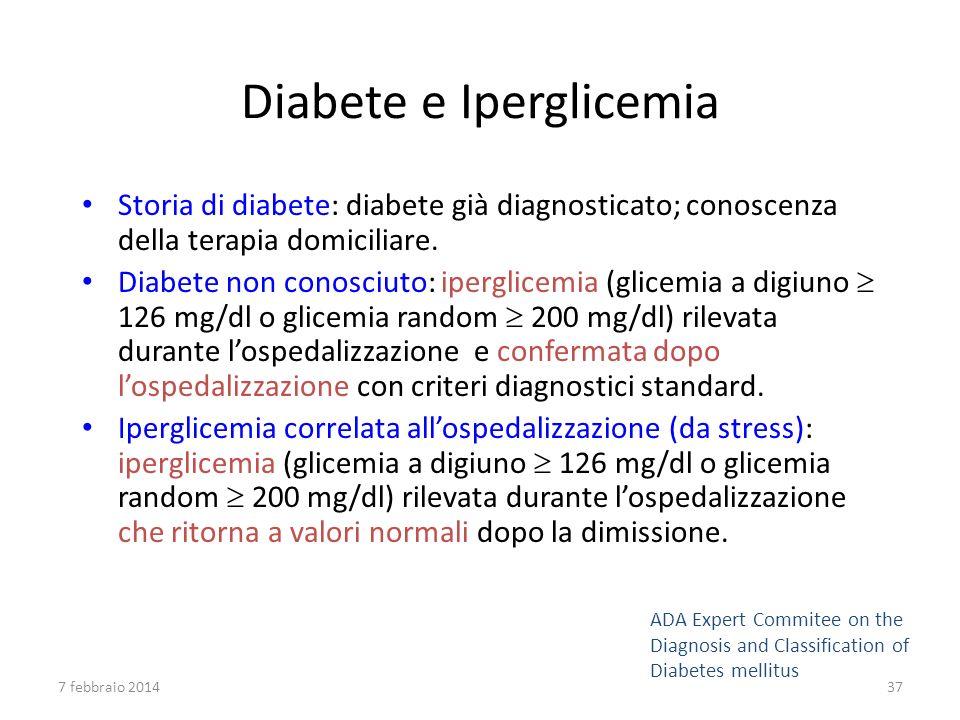 Diabete e Iperglicemia Storia di diabete: diabete già diagnosticato; conoscenza della terapia domiciliare. Diabete non conosciuto: iperglicemia (glice