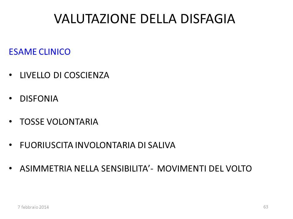 VALUTAZIONE DELLA DISFAGIA ESAME CLINICO LIVELLO DI COSCIENZA DISFONIA TOSSE VOLONTARIA FUORIUSCITA INVOLONTARIA DI SALIVA ASIMMETRIA NELLA SENSIBILIT