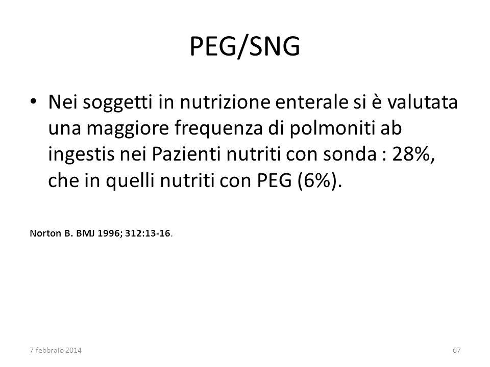 PEG/SNG Nei soggetti in nutrizione enterale si è valutata una maggiore frequenza di polmoniti ab ingestis nei Pazienti nutriti con sonda : 28%, che in