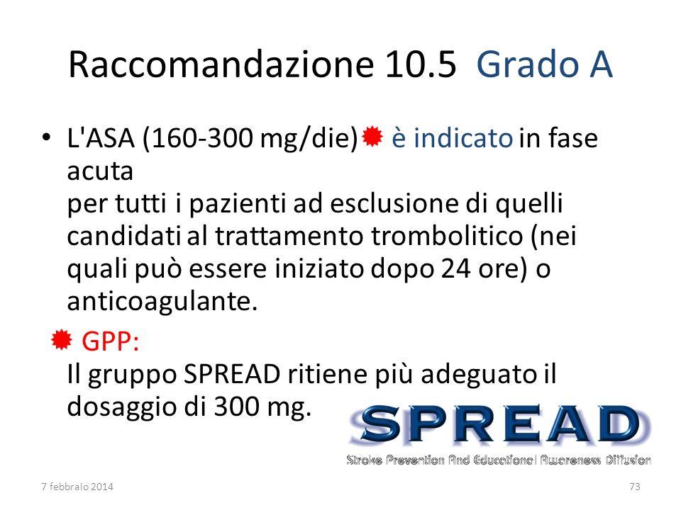 Raccomandazione 10.5Grado A L'ASA (160-300 mg/die) è indicato in fase acuta per tutti i pazienti ad esclusione di quelli candidati al trattamento trom