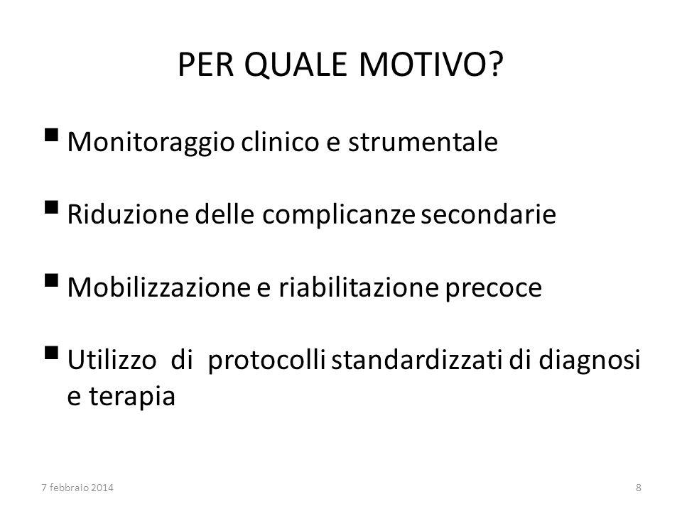 PER QUALE MOTIVO? Monitoraggio clinico e strumentale Riduzione delle complicanze secondarie Mobilizzazione e riabilitazione precoce Utilizzo di protoc