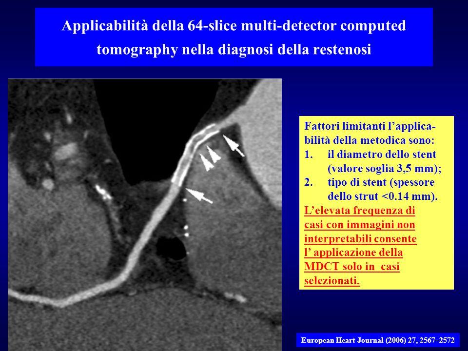Fattori limitanti lapplica- bilità della metodica sono: 1.il diametro dello stent (valore soglia 3,5 mm); 2.tipo di stent (spessore dello strut <0.14