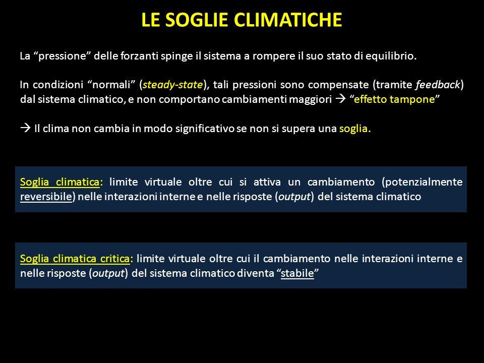 LE SOGLIE CLIMATICHE La pressione delle forzanti spinge il sistema a rompere il suo stato di equilibrio. In condizioni normali (steady-state), tali pr
