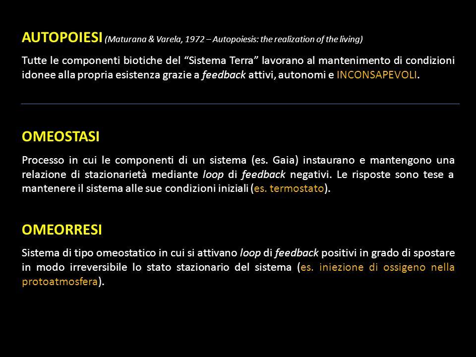AUTOPOIESI (Maturana & Varela, 1972 – Autopoiesis: the realization of the living) Tutte le componenti biotiche del Sistema Terra lavorano al mantenime