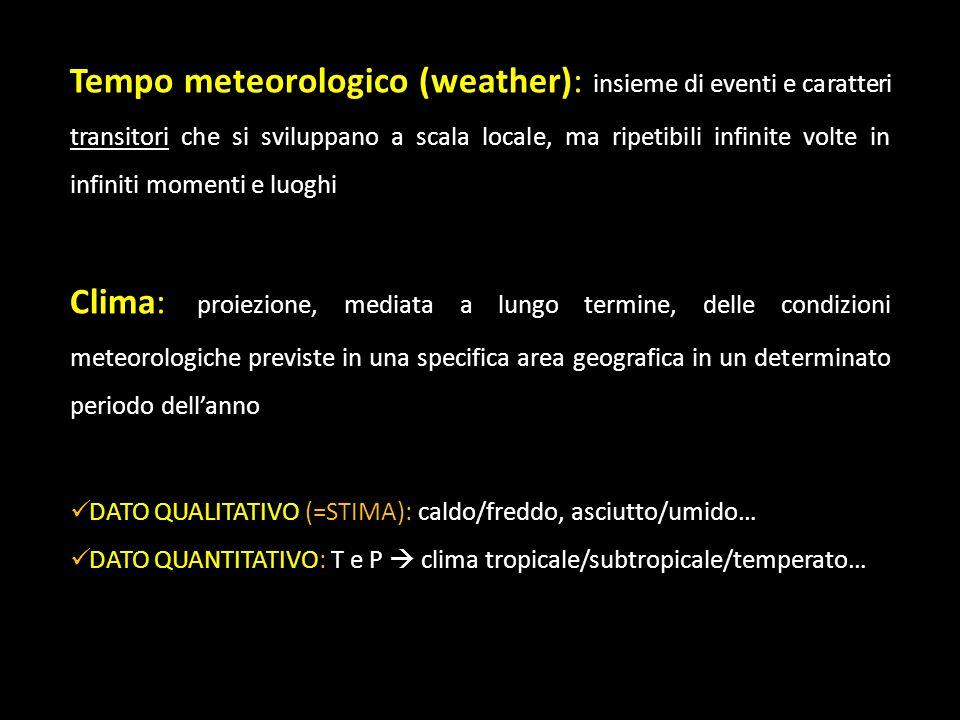 Tempo meteorologico (weather): insieme di eventi e caratteri transitori che si sviluppano a scala locale, ma ripetibili infinite volte in infiniti mom