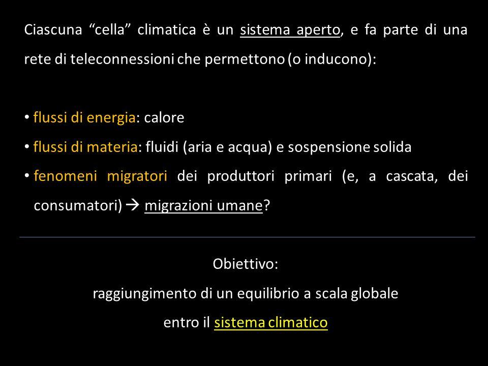Ciascuna cella climatica è un sistema aperto, e fa parte di una rete di teleconnessioni che permettono (o inducono): flussi di energia: calore flussi