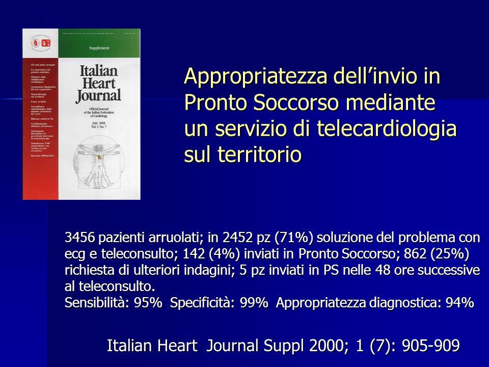 Appropriatezza dellinvio in Pronto Soccorso mediante un servizio di telecardiologia sul territorio Italian Heart Journal Suppl 2000; 1 (7): 905-909 34