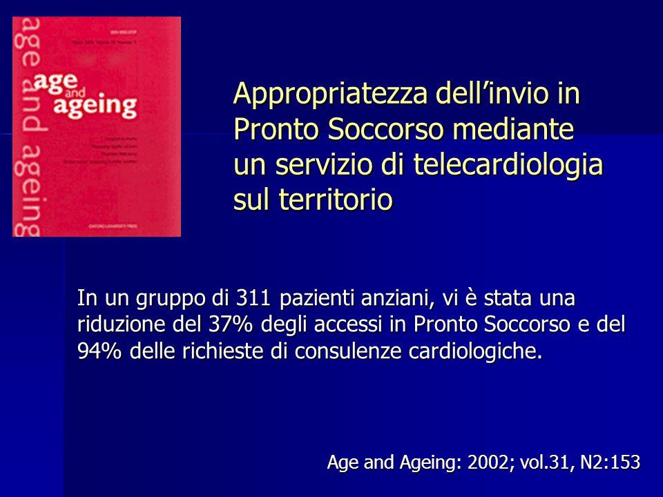 Appropriatezza dellinvio in Pronto Soccorso mediante un servizio di telecardiologia sul territorio Age and Ageing: 2002; vol.31, N2:153 In un gruppo d