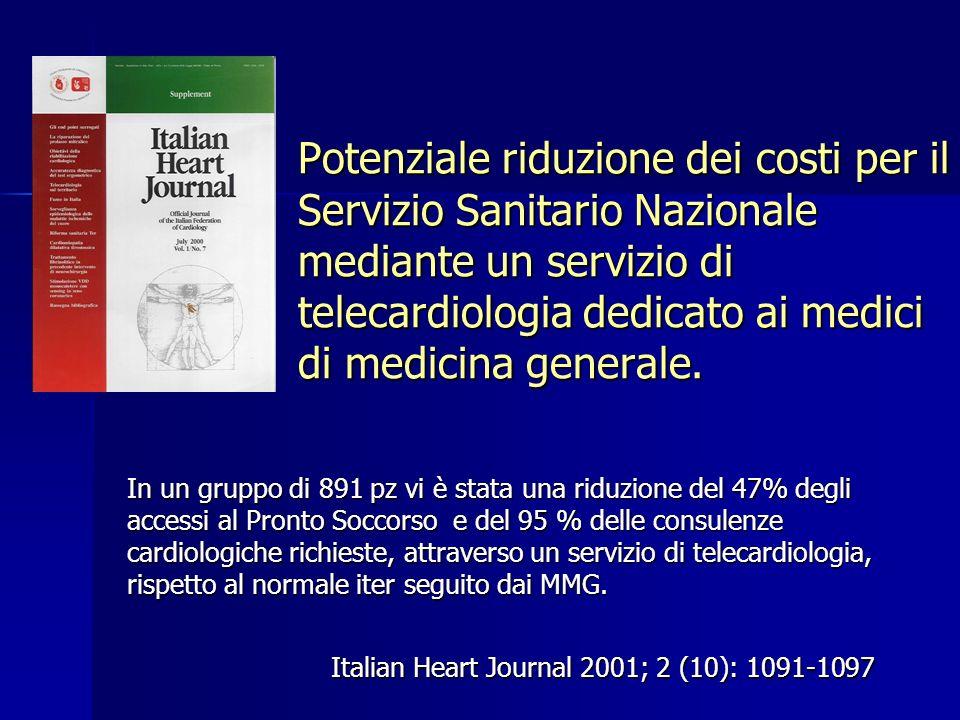 Potenziale riduzione dei costi per il Servizio Sanitario Nazionale mediante un servizio di telecardiologia dedicato ai medici di medicina generale. It