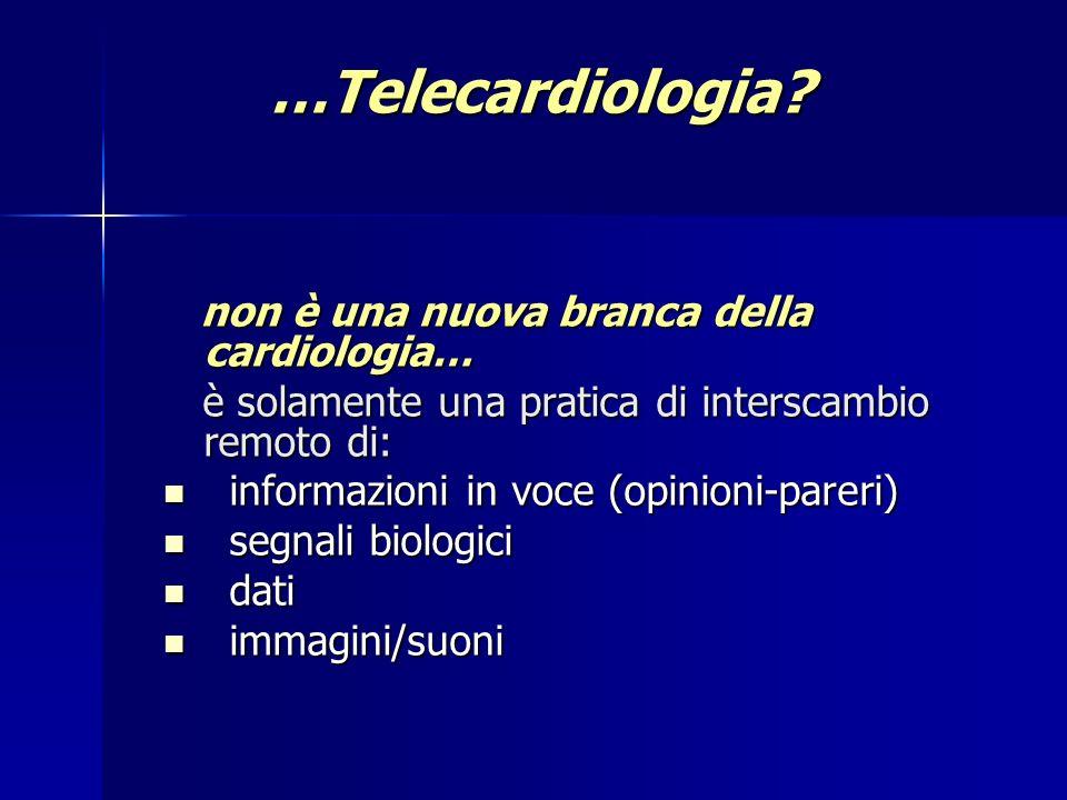 Telecardiology community: a new approach to take care of cardiac patients Cardiologia 1999; Vol 44, n 10: 921-24 Soluzione in tempo reale dell88% delle problematiche poste dai Medici di Medicina Generale.