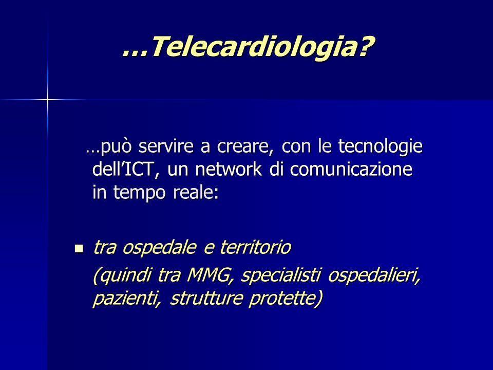 Appropriatezza dellinvio in Pronto Soccorso mediante un servizio di telecardiologia sul territorio Italian Heart Journal Suppl 2000; 1 (7): 905-909 3456 pazienti arruolati; in 2452 pz (71%) soluzione del problema con ecg e teleconsulto; 142 (4%) inviati in Pronto Soccorso; 862 (25%) richiesta di ulteriori indagini; 5 pz inviati in PS nelle 48 ore successive al teleconsulto.