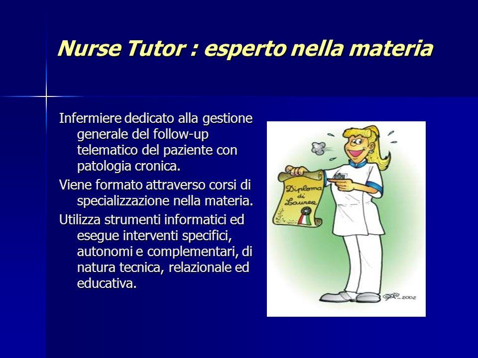 Nurse Tutor : esperto nella materia Infermiere dedicato alla gestione generale del follow-up telematico del paziente con patologia cronica. Viene form