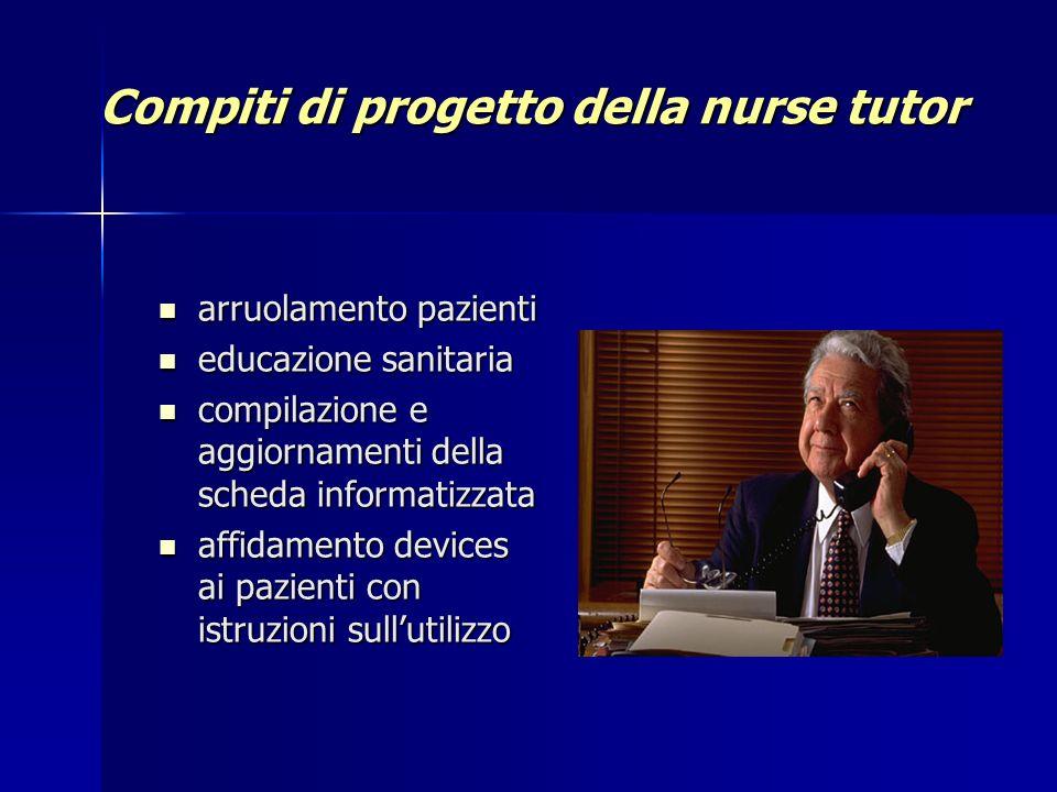 Compiti di progetto della nurse tutor arruolamento pazienti arruolamento pazienti educazione sanitaria educazione sanitaria compilazione e aggiornamen