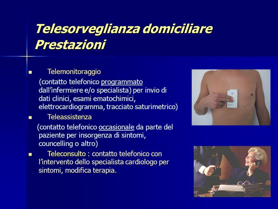 Telesorveglianza domiciliare Prestazioni Telemonitoraggio (contatto telefonico programmato dallinfermiere e/o specialista) per invio di dati clinici,
