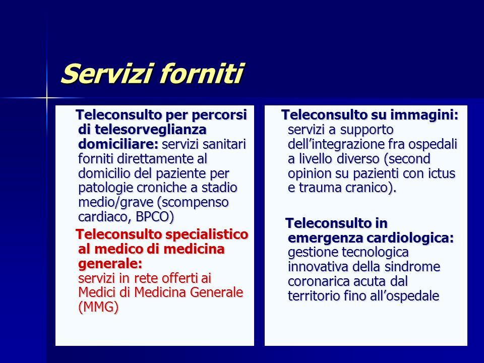 Servizi forniti Teleconsulto su immagini: servizi a supporto dellintegrazione fra ospedali a livello diverso (second opinion su pazienti con ictus e t