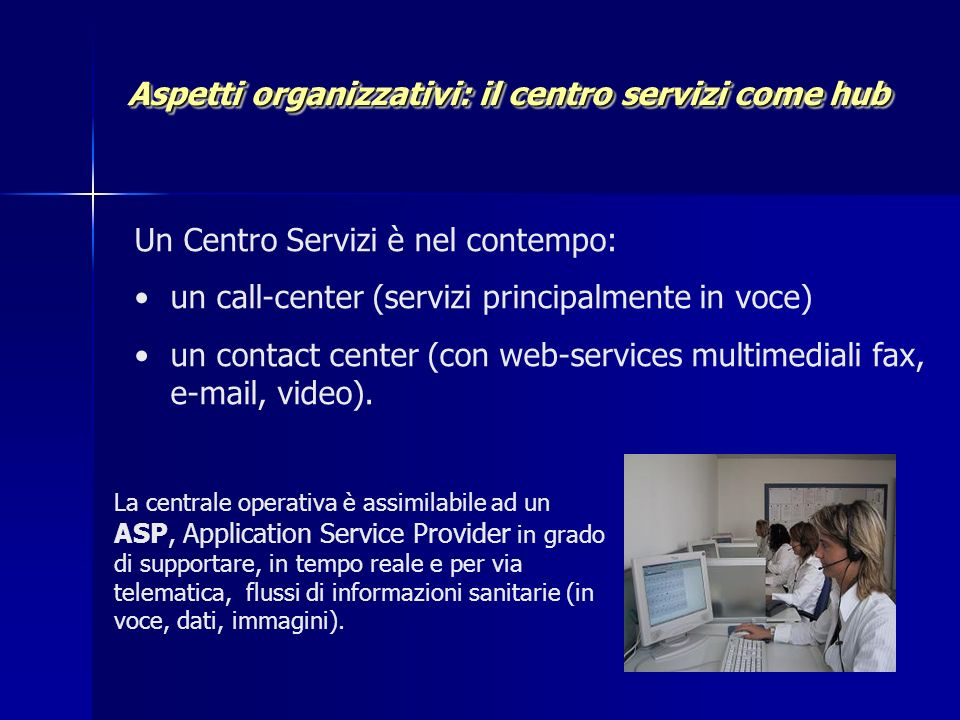 Aspetti organizzativi: il centro servizi come hub Aspetti organizzativi: il centro servizi come hub Un Centro Servizi è nel contempo: un call-center (