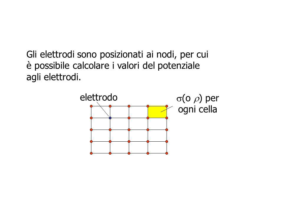 Gli elettrodi sono posizionati ai nodi, per cui è possibile calcolare i valori del potenziale agli elettrodi. elettrodo (o ) per ogni cella