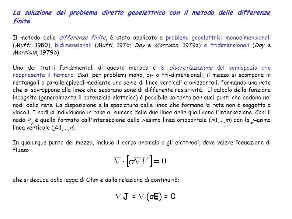 La soluzione del problema diretto geoelettrico con il metodo delle differenze finite Il metodo delle differenze finite, è stato applicato a problemi g