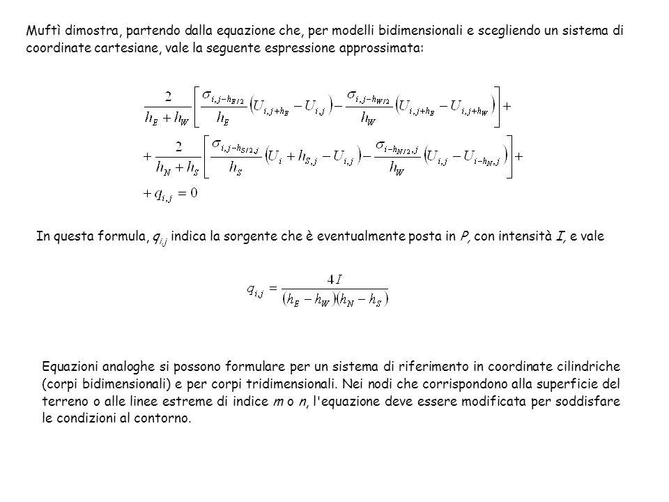 Muftì dimostra, partendo dalla equazione che, per modelli bidimensionali e scegliendo un sistema di coordinate cartesiane, vale la seguente espression