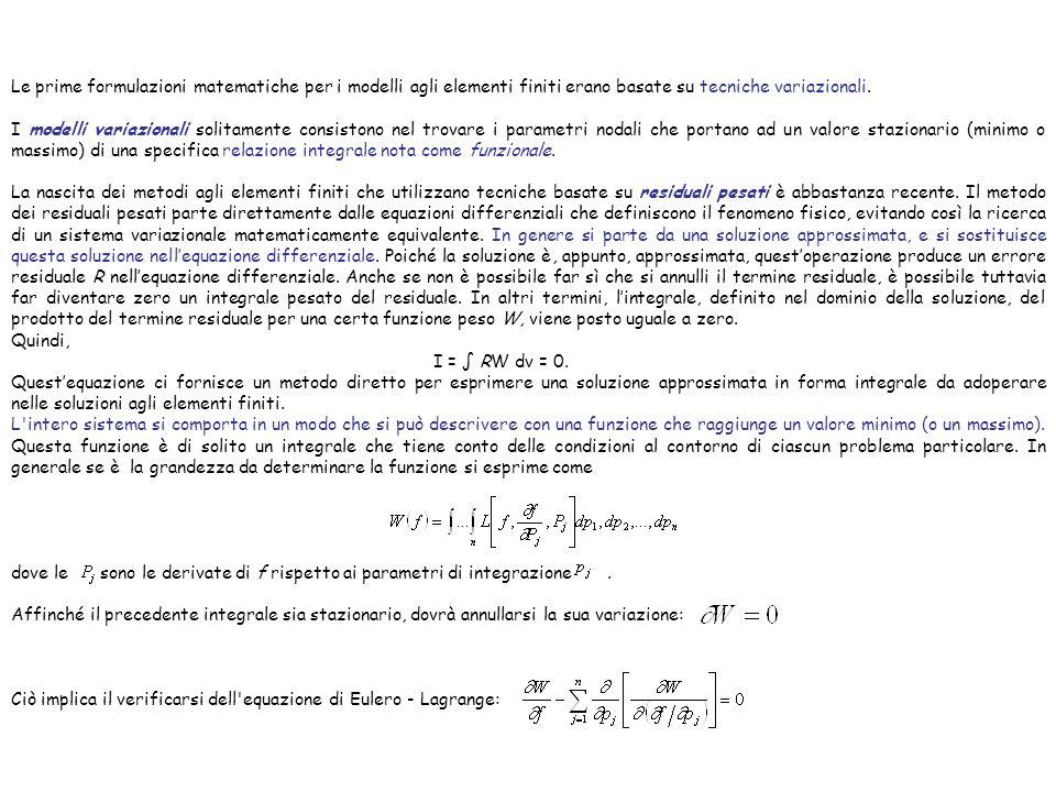 Le prime formulazioni matematiche per i modelli agli elementi finiti erano basate su tecniche variazionali. I modelli variazionali solitamente consist