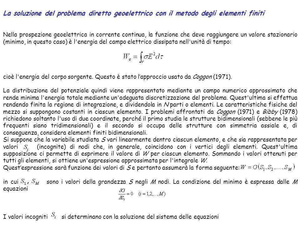 La soluzione del problema diretto geoelettrico con il metodo degli elementi finiti Nella prospezione geoelettrica in corrente continua, la funzione ch
