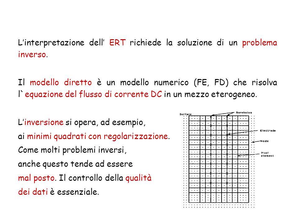 Linterpretazione dell ERT richiede la soluzione di un problema inverso. Il modello diretto è un modello numerico (FE, FD) che risolva l`equazione del