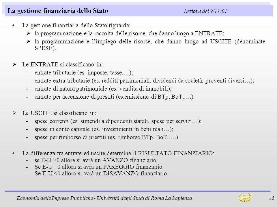 Economia delle Imprese Pubbliche - Università degli Studi di Roma La Sapienza 16 La gestione finanziaria dello Stato Lezione del 9/11/01 La gestione f