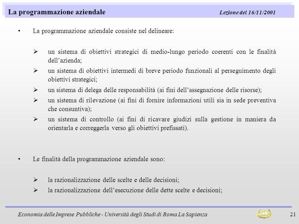 Economia delle Imprese Pubbliche - Università degli Studi di Roma La Sapienza 21 La programmazione aziendale Lezione del 16/11/2001 La programmazione