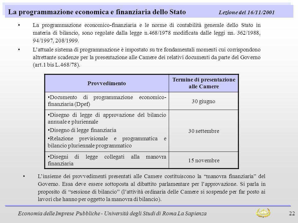 Economia delle Imprese Pubbliche - Università degli Studi di Roma La Sapienza 22 La programmazione economica e finanziaria dello Stato Lezione del 16/