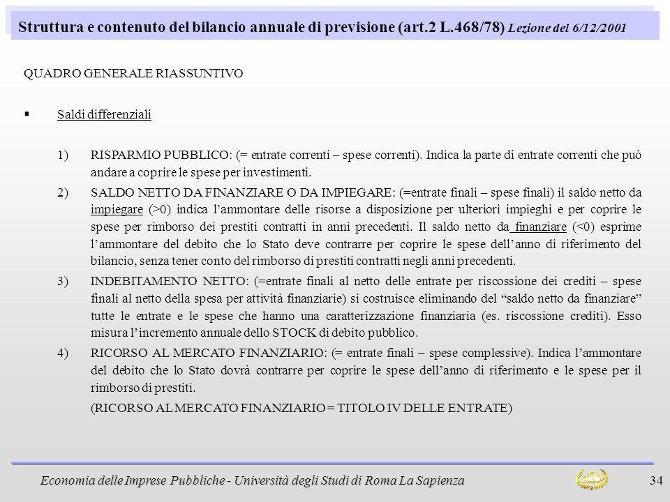 Economia delle Imprese Pubbliche - Università degli Studi di Roma La Sapienza 34 Struttura e contenuto del bilancio annuale di previsione (art.2 L.468