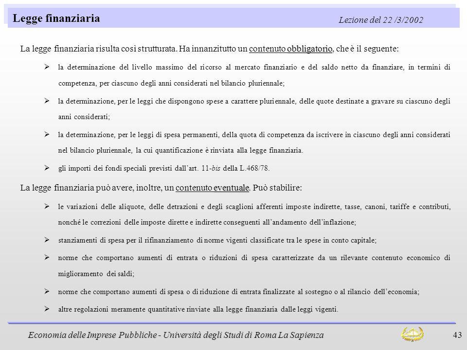 Economia delle Imprese Pubbliche - Università degli Studi di Roma La Sapienza 43 Legge finanziaria Lezione del 22 /3/2002 obbligatorio La legge finanz