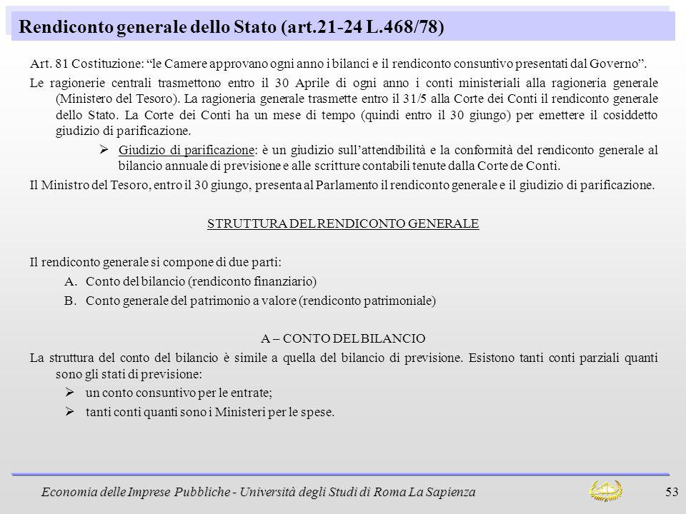 Economia delle Imprese Pubbliche - Università degli Studi di Roma La Sapienza 53 Rendiconto generale dello Stato (art.21-24 L.468/78) Art. 81 Costituz