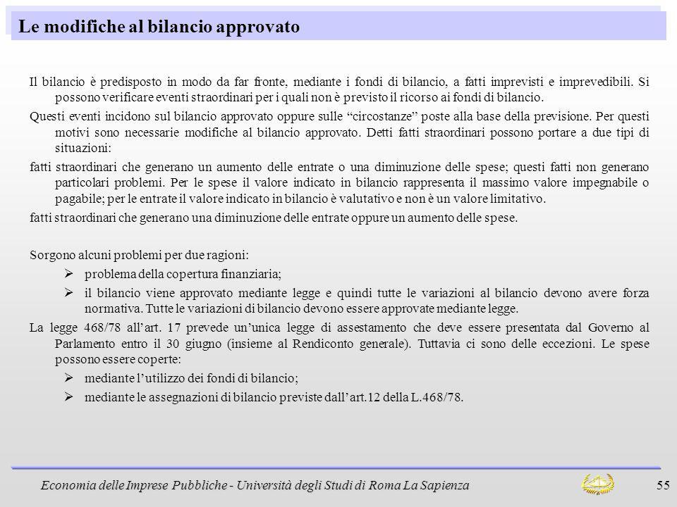 Economia delle Imprese Pubbliche - Università degli Studi di Roma La Sapienza 55 Le modifiche al bilancio approvato Il bilancio è predisposto in modo